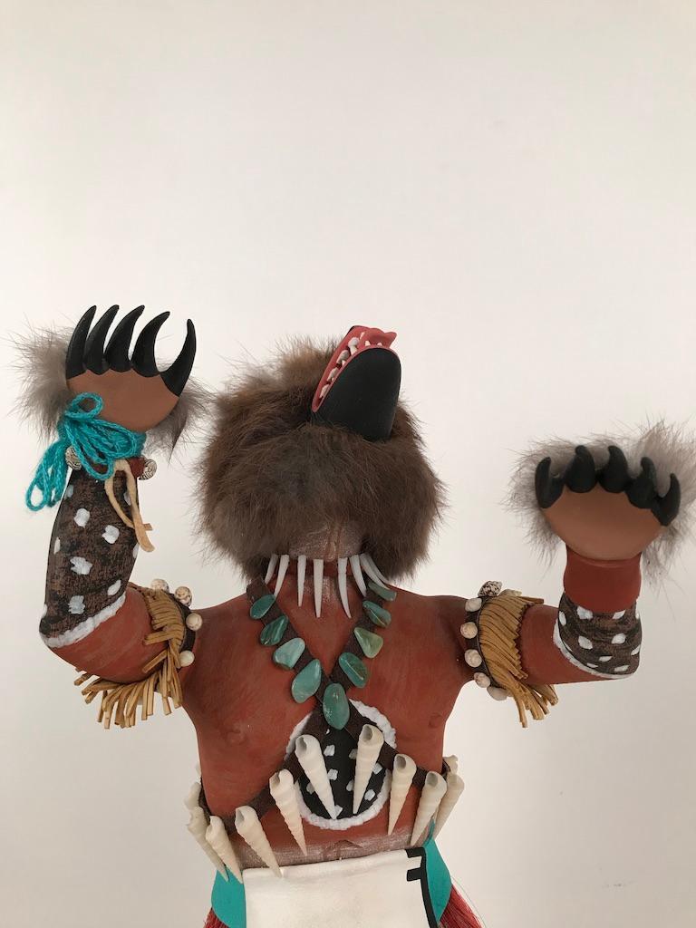 Vintage Hopi Kachina Dancing Bear Hand Carved Signed by Artist For Sale 1
