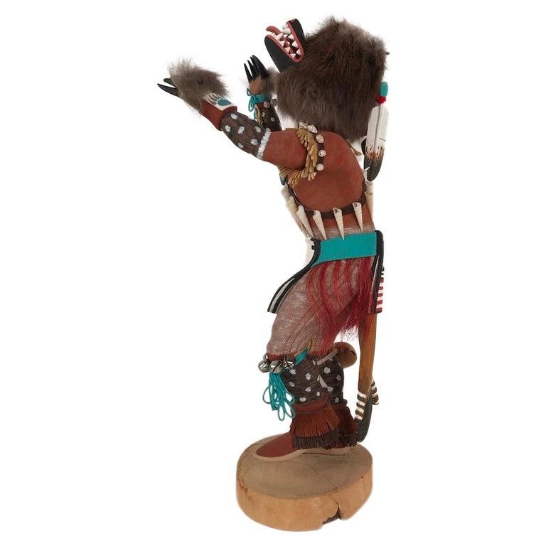 Vintage Hopi Kachina Dancing Bear Hand Carved Signed by Artist For Sale