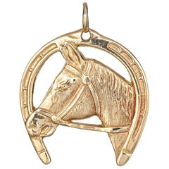 Vintage Horse Pendant Charm Good Luck Horseshoe 14k Yellow Gold Animal Jewelry