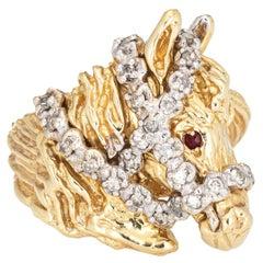 Vintage Horse Ring Diamond Ruby 14k Yellow Gold Fine Animal Jewelry