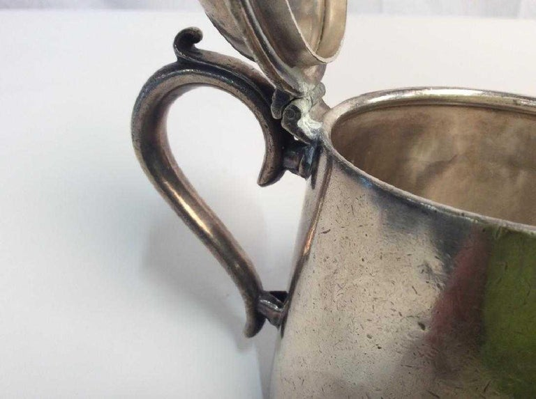 Vintage silver plated tea pot, 5 in x 7 in at widest point, some scratches and dents, marked Grace Line, an ocean liner, on one side of tea pot, underside marked 28088 e & co. In shield, Elkington Plate, 3/4 p, silver plate collectibles, tea service
