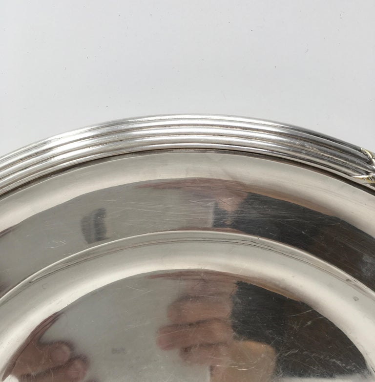 Other Vintage Hotel Silver Serving Platter For Sale
