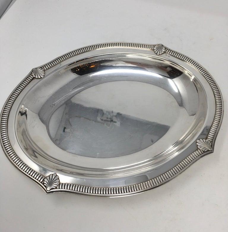French Vintage Hotel Silver Serving Platter For Sale