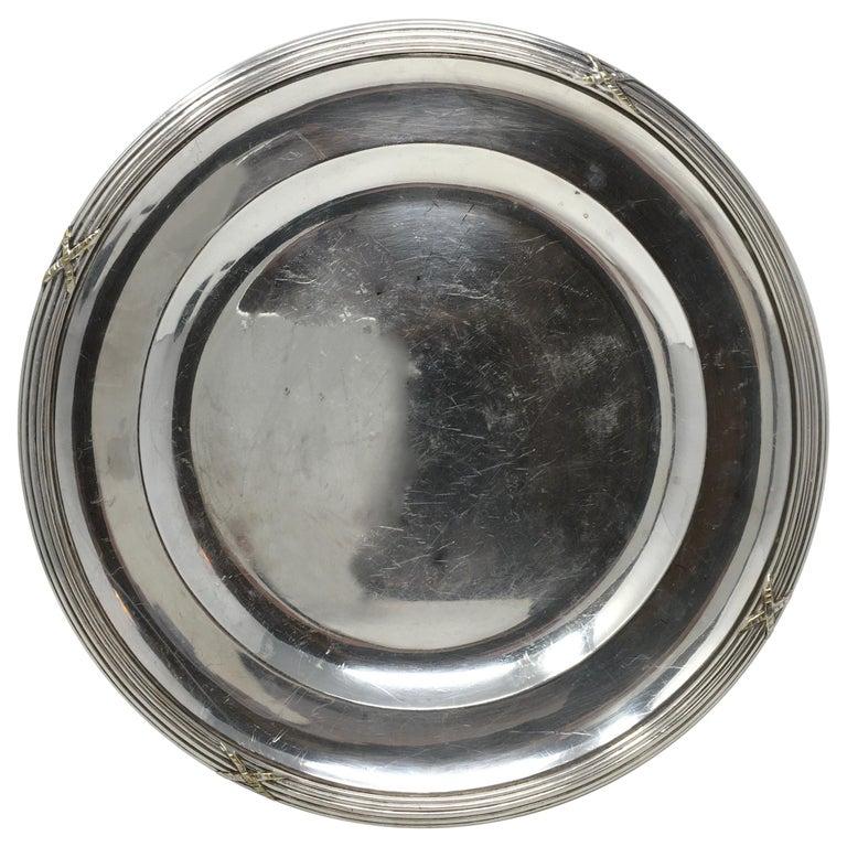 Vintage Hotel Silver Serving Platter For Sale