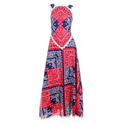 Vintage Howard Wolf Blue & Red Patchwork Bandana Print Dress Deadstock w tags