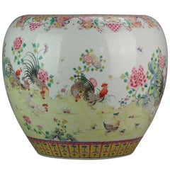 Vintage Huge 20th Century PROC 1960-1980 Chinese Porcelain Basin Roosters