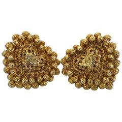 Vintage Huge CHRISTIAN LACROIX Textured Heart Logo Earrings