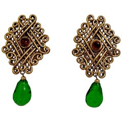 Vintage Huge ISABEL CANOVAS Poured Glass Byzantine Earrings