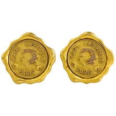 Vintage Huge KARL LAGERFELD Profile Wax Seal Logo Earrings