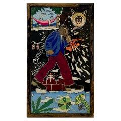 "Vintage Huichol Psychedelic Nierikas ""Campadre"" Yarn Painting, Mexico C.1970"
