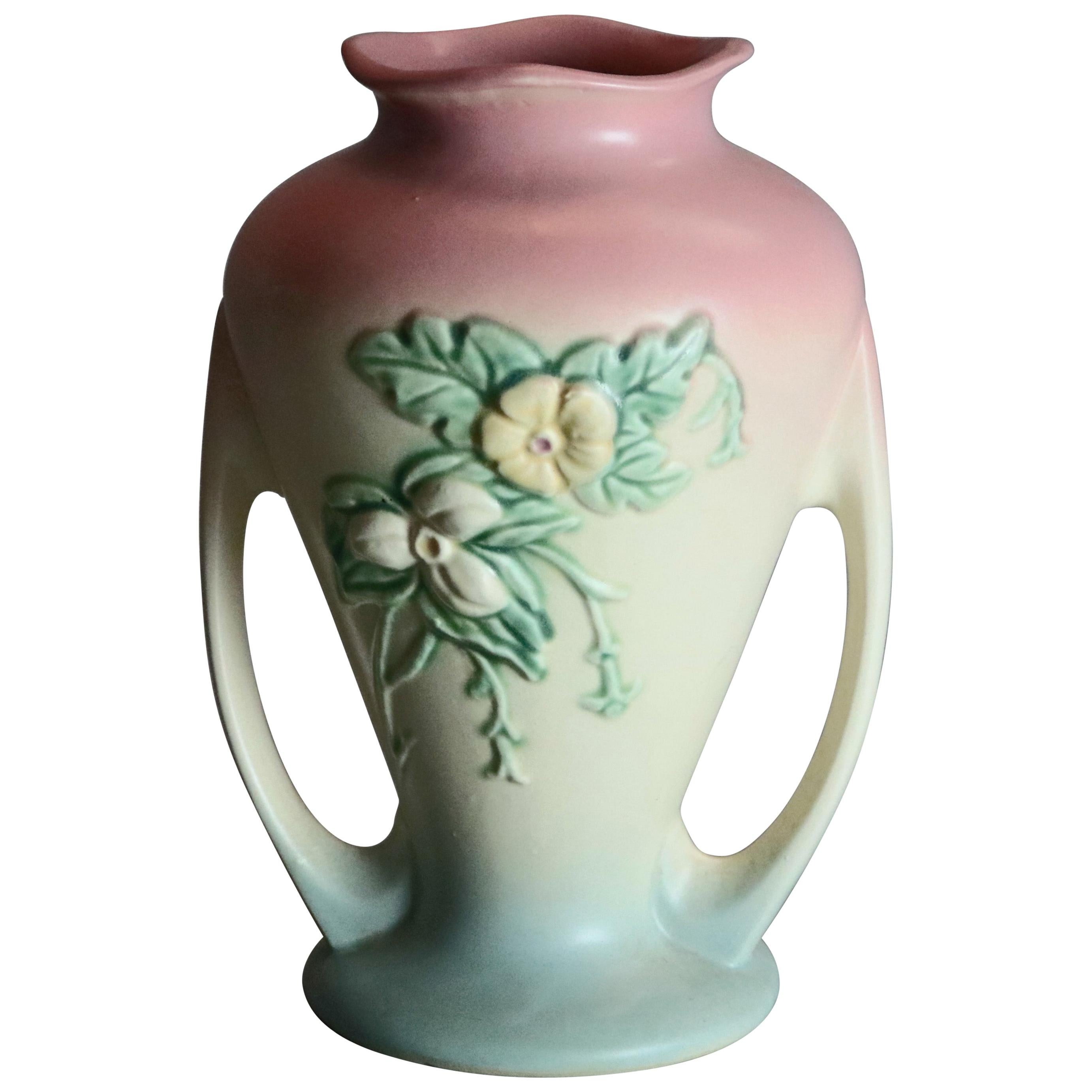 Vintage Hull Art Pottery Double Handled Floral Vase, Circa 1940