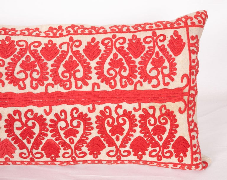 Suzani Vintage Hungarian Written Embroidery Body Pillow, 1970s For Sale