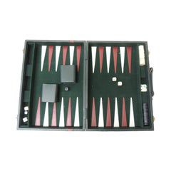 Vintage Hunter Green and Red Backgammon Set with Dominoes, Cards and Cribbage