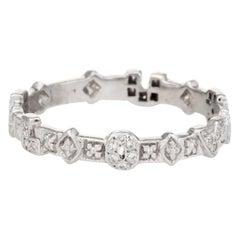 Vintage I Love U Diamond Ring Eternity 18 Karat White Gold Estate Fine Jewelry