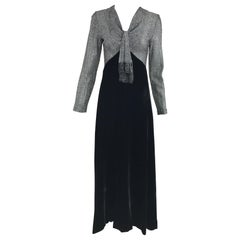 Vintage I Magnin & Co. Silver Metallic and Black Velvet Maxi Dress