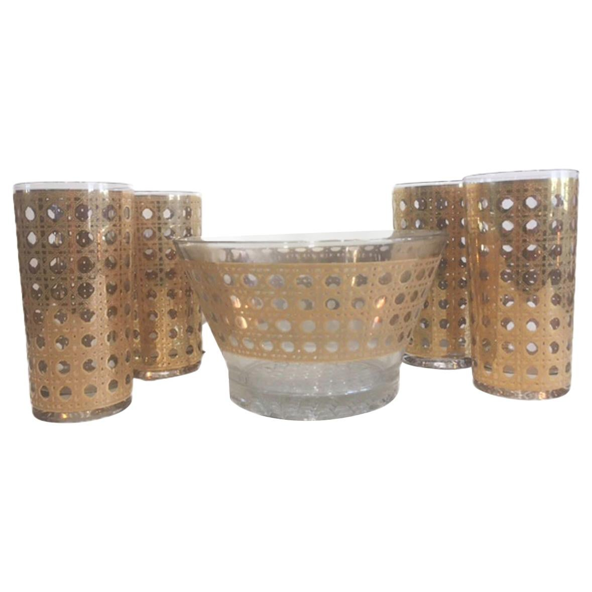 Vintage Ice Bowl Set, Culver Glassware, Ice Bowl and 8 Highball Glasses