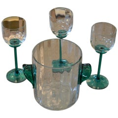 Vintage Icet Arte Murano Clear and Green Wine Glasses with Wine Cooler, Set of 4