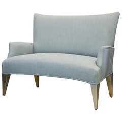 Vintage Ico Parisi Style Seafoam Color Loveseat Settee with Great Curved Lines