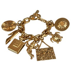 Vintage Iconic CHANEL Charms Chunky Bracelet