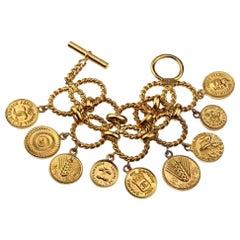 Vintage ICONIC CHANEL Logo Coin Medallion Charm Hoop Chain Bracelet