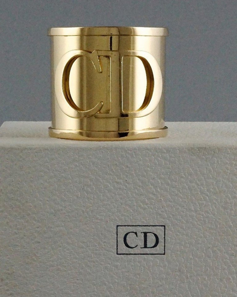 Women's Vintage Iconic CHRISTIAN DIOR CD Logo Initials Wide Cuff Bracelet For Sale