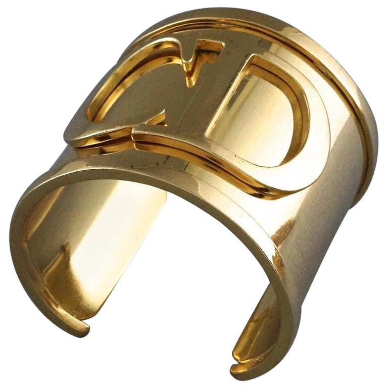 Vintage Iconic CHRISTIAN DIOR CD Logo Initials Wide Cuff Bracelet For Sale