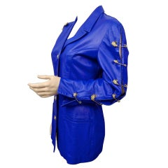Vintage Iconic GIANNI VERSACE VERSUS Safety Pin Blue Leather Jacket