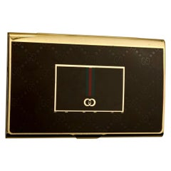 Vintage Iconic GUCCI Logo Enamel Business Card Holder