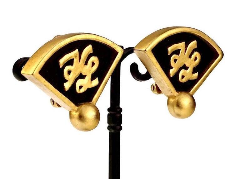 Vintage Iconic KARL LAGERFELD KL Logo Fan Earrings For Sale 1