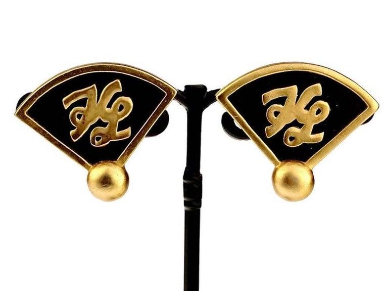 Vintage Iconic KARL LAGERFELD KL Logo Fan Earrings For Sale 2
