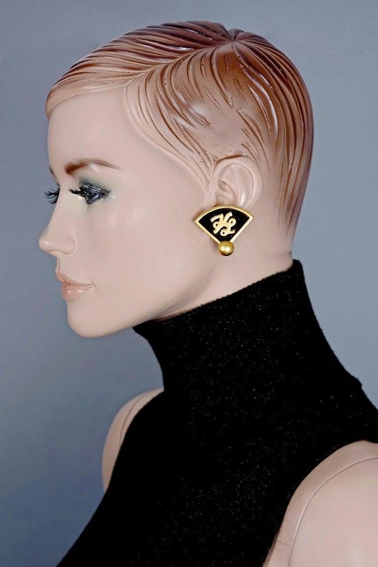 Vintage Iconic KARL LAGERFELD KL Logo Fan Earrings For Sale 3