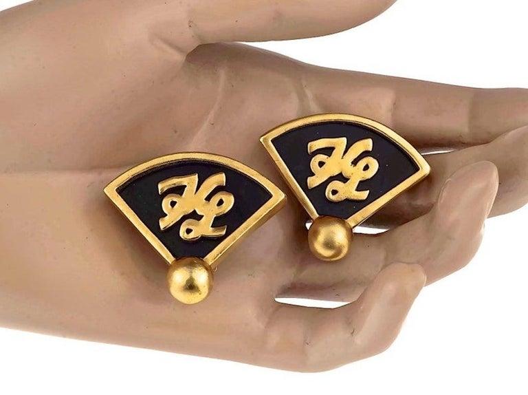 Vintage Iconic KARL LAGERFELD KL Logo Fan Earrings For Sale 4
