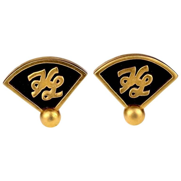 Vintage Iconic KARL LAGERFELD KL Logo Fan Earrings For Sale