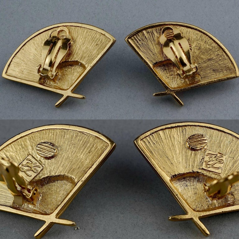 Vintage Iconic KARL LAGERFELD Logo Fan Rhinestone Earrings For Sale 6