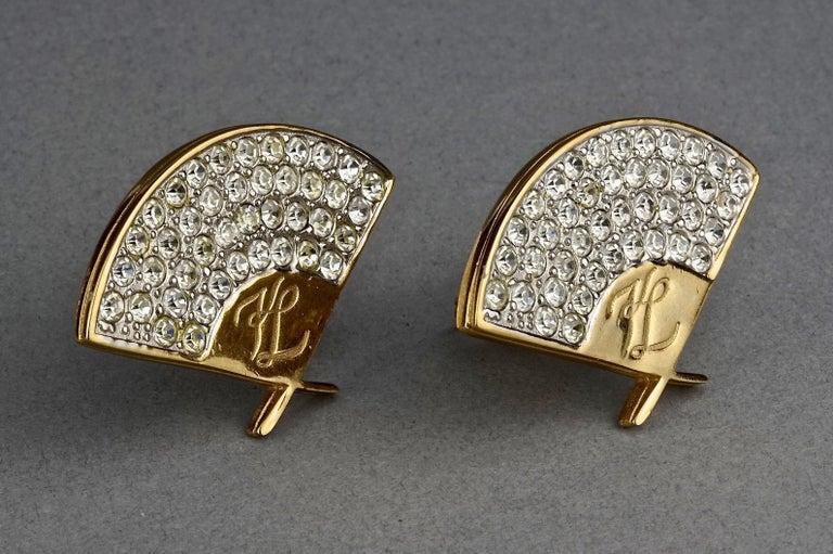 Women's Vintage Iconic KARL LAGERFELD Logo Fan Rhinestone Earrings For Sale
