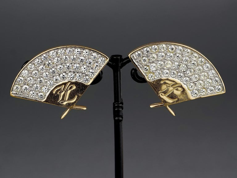 Vintage Iconic KARL LAGERFELD Logo Fan Rhinestone Earrings For Sale 1