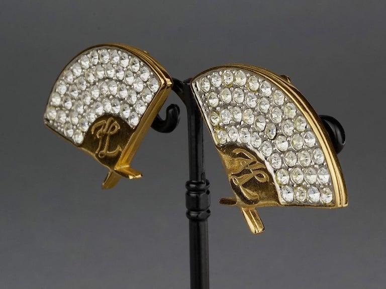 Vintage Iconic KARL LAGERFELD Logo Fan Rhinestone Earrings For Sale 2
