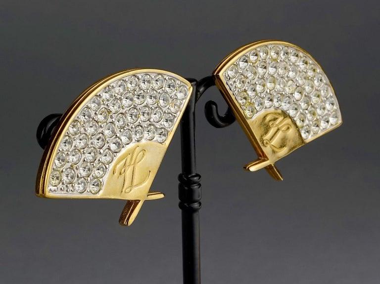 Vintage Iconic KARL LAGERFELD Logo Fan Rhinestone Earrings For Sale 3