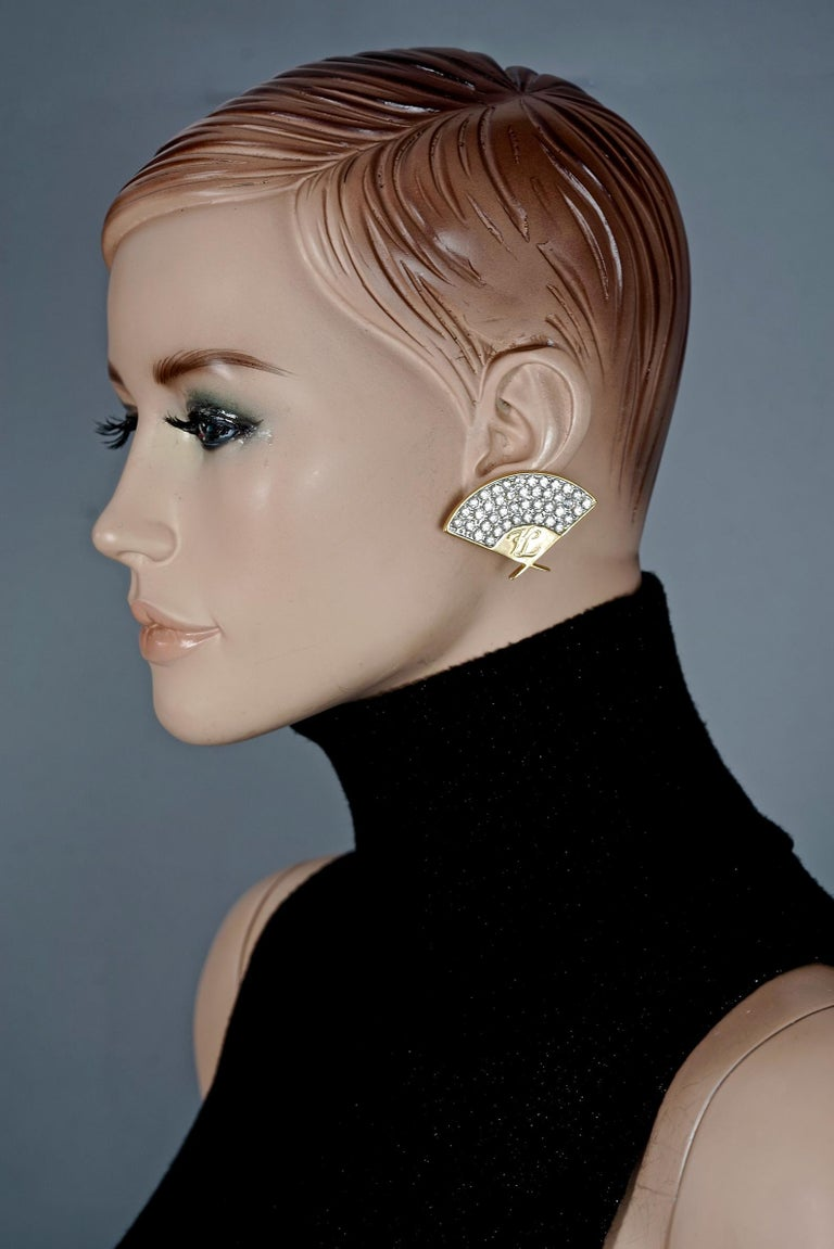Vintage Iconic KARL LAGERFELD Logo Fan Rhinestone Earrings For Sale 4