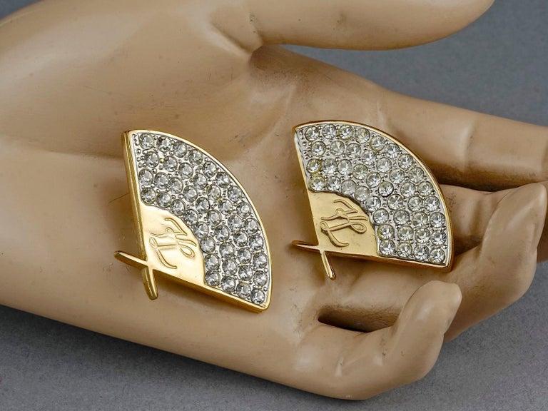 Vintage Iconic KARL LAGERFELD Logo Fan Rhinestone Earrings For Sale 5