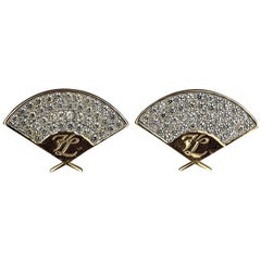 Vintage Iconic KARL LAGERFELD Logo Fan Rhinestone Earrings