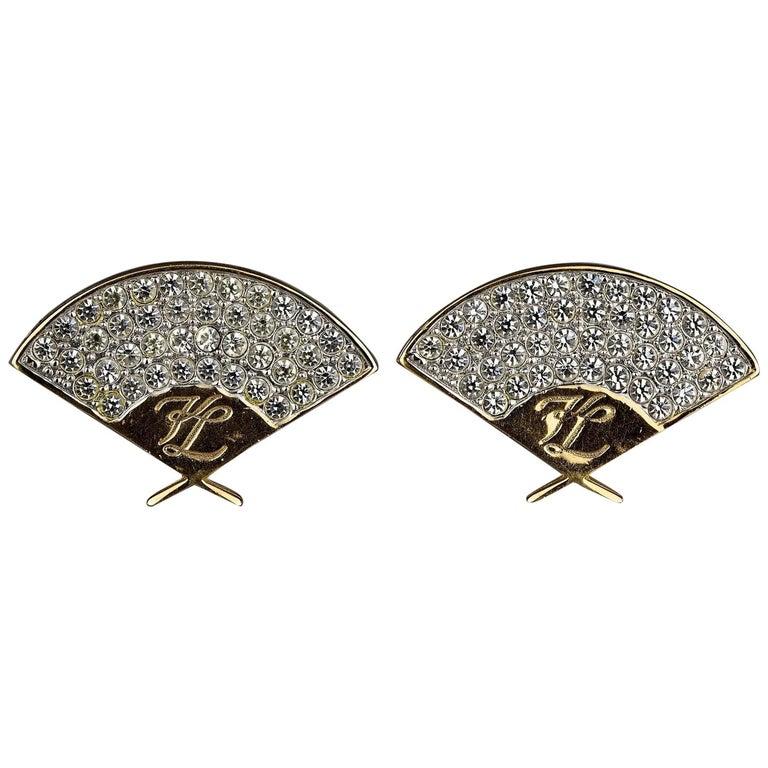 Vintage Iconic KARL LAGERFELD Logo Fan Rhinestone Earrings For Sale