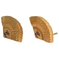 Vintage Iconic KARL LAGERFELD Logo Fan Textured Earrings