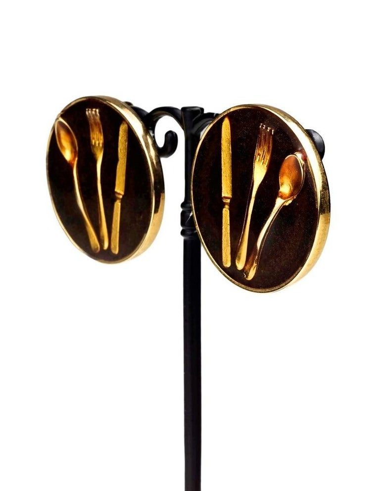 Vintage Iconic MOSCHINO Cutlery Earrings For Sale 2