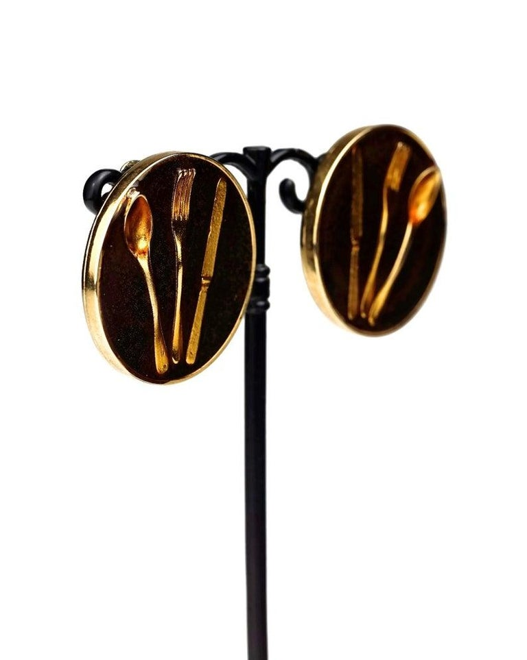 Vintage Iconic MOSCHINO Cutlery Earrings For Sale 3