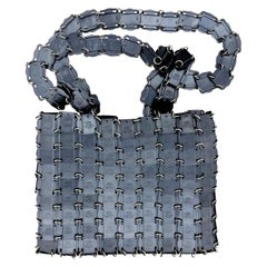 Vintage Iconic PACO RABANNE Logo Square Disc Chainmail Space Age Metal Bag