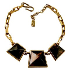 Vintage Iconic YSL Yves Saint Laurent Leopard Pyramid Necklace