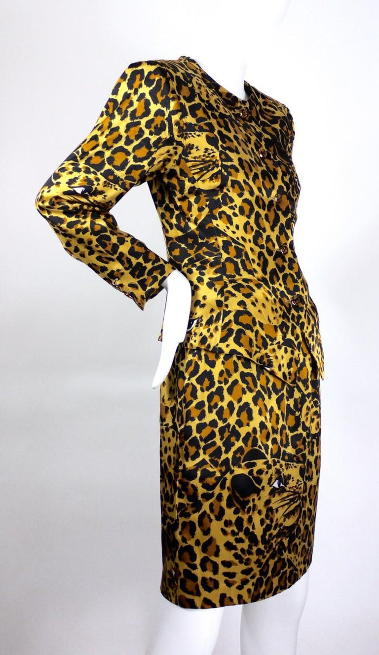Vintage Iconic YVES SAINT LAURENT Rive Gauche Silk Leopard Print Suit  Measurements taken laid flat: BLAZER/ BLOUSE Shoulder: 16 inches Sleeves: 22 inches Bust: 36 inches Waist: 30 inches Length: 25 inches (down to the pointed edges)  SKIRT Waist:
