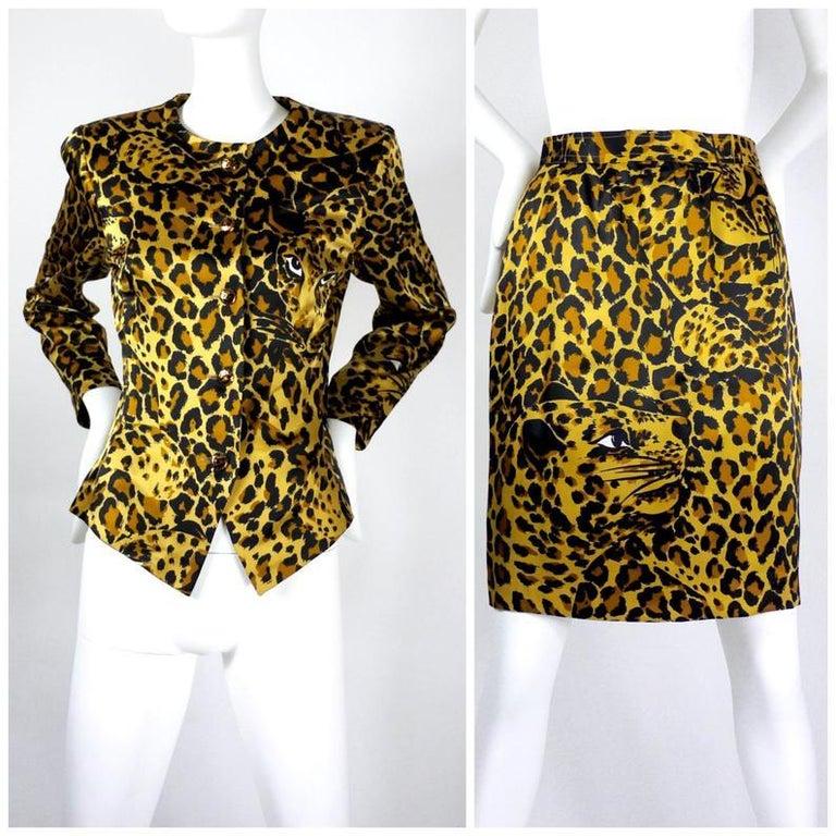 Women's Vintage Iconic YVES SAINT LAURENT Rive Gauche Silk Leopard Print Suit For Sale