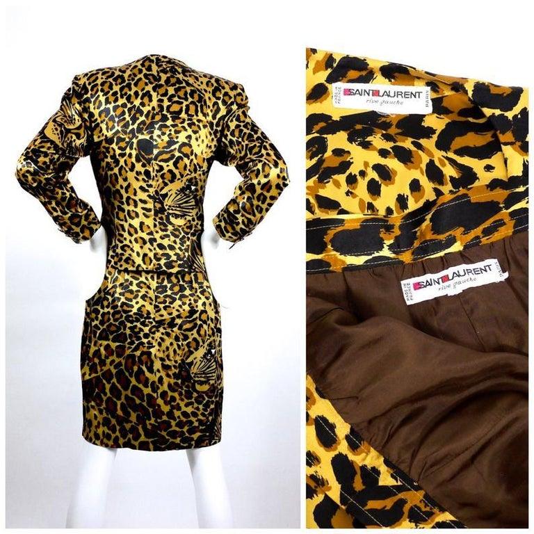 Vintage Iconic YVES SAINT LAURENT Rive Gauche Silk Leopard Print Suit For Sale 1